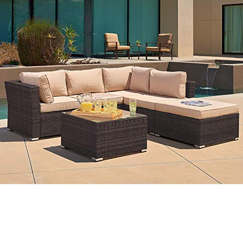 SUNCROWN Outdoor Sofa 4-Piece Patio Furniture Set, Checkered Wicker and Glass Coffee Table, Brown Washable Cushion and Clips