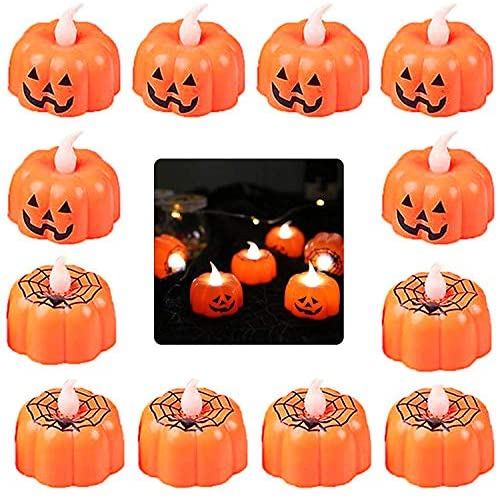 LED Fata Zucca Luce,12 Pack Halloween Tealights Zucca Arancione Candele Senza Fiamma Batteria Alimentata 3D Fata Luce per Halloween Festival Decorazione per Feste Arancione