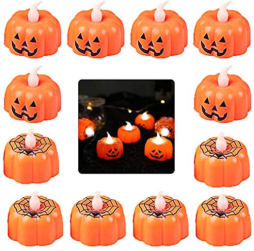 Tealights de Calabaza Halloween,12 LED Pack Candelitas de Calabaza Naranja Velas Sin Llama Luz 3D Luces Batería para Decoración Fiesta Festival Halloween Naranja