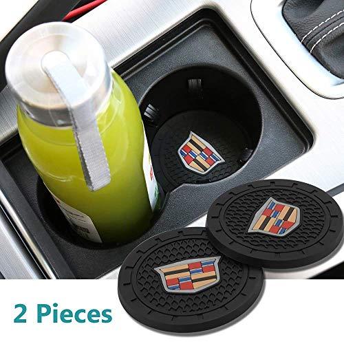 Lookjind 2 Pcs 2.75 inch Car Interior Accessories Anti Slip Cup Mat for Cadillac Escalade, CTS,SRX, BLS, ATS,STS, XTS, SXT,etc All Models