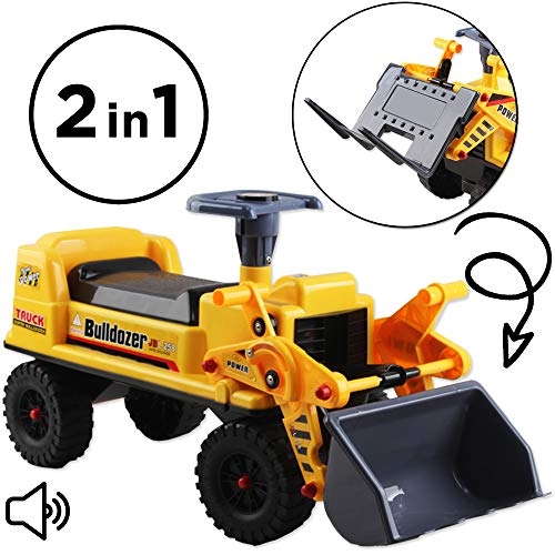 deAO 2-in-1 Ride on Toy Bulldoze...