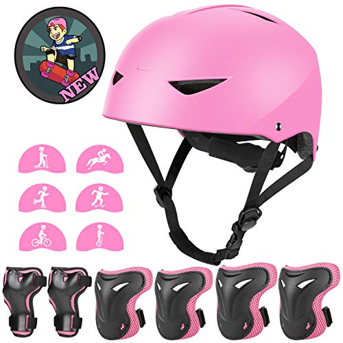Kids Bike Helmet and Pads Set - Upgraded Protective Gear Set Knee and Elbow Pads Wrist Guards for 4~10yrs Girls Boys Children, Adjustable Skateboard Helmet for Bicycle Cycling BMX Scooter Skating