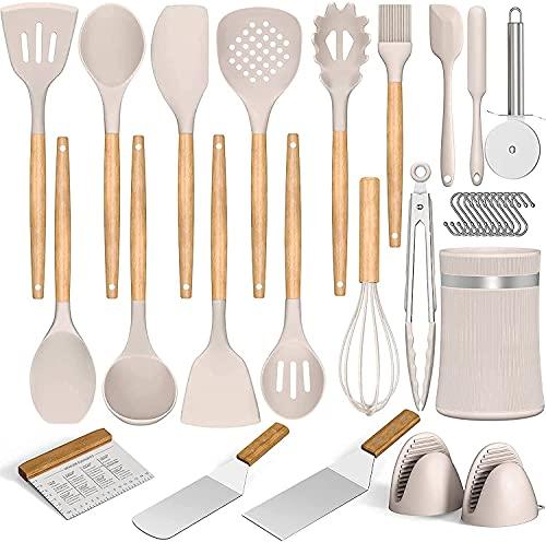 Umiten 31pcs Kitchen Utensils Set Silicone Cooking Utensils - Heat Resistant Kitchen Tools Wooden Handle Spoons Kitchen Utensil Set Kitchen Appliances for Cooking (Khaki)
