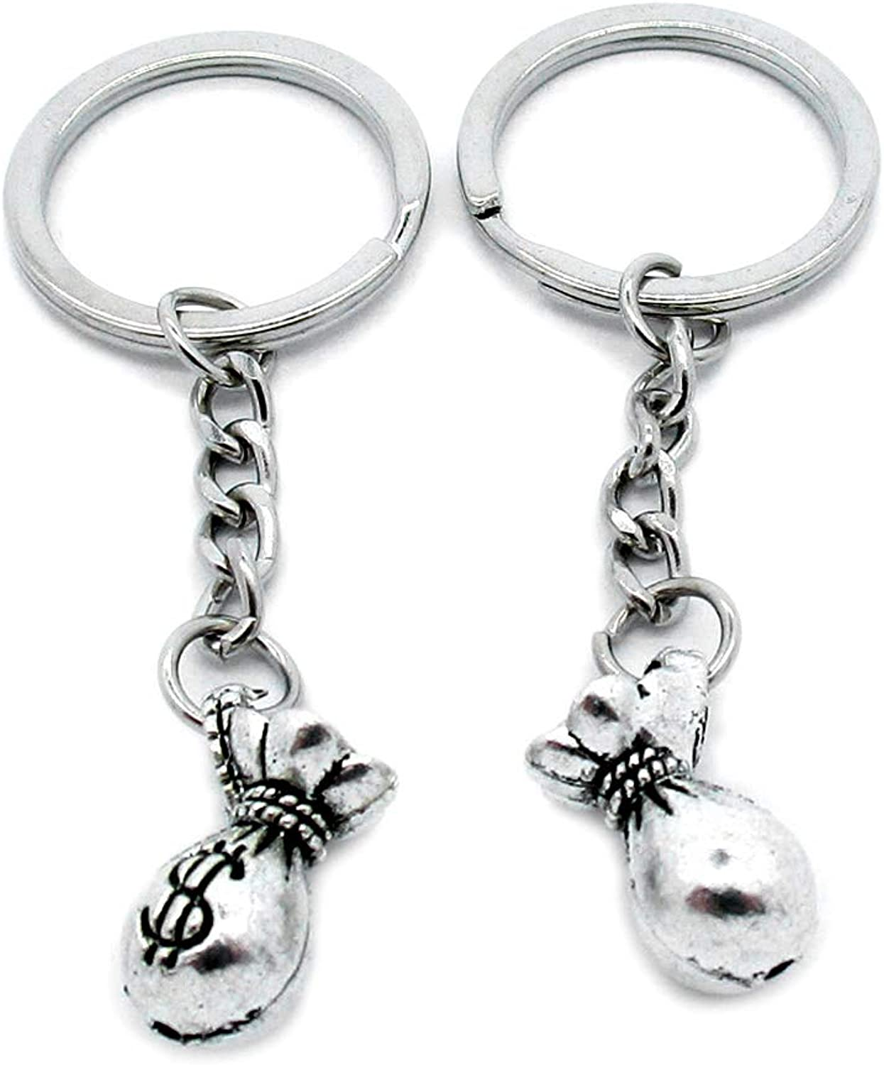 100 PCS Antique Silver Keyrings Keychains Key Ring Chains Tags Clasps AA461 Dollar Purse Money Bag