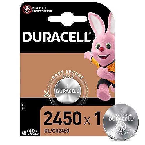 Duracell CR2016/DL/CR2450 Batteria Bottone Litio 3V, Progettate per l'Uso su Chiavi con Sensore Magnetico, Bilance, Elementi Indossabili, Dispositivi Medici, Argento, 1 Batteria