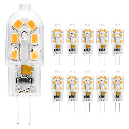 ETHT G4 LED Bulb, 12V JC G4 Bi Pin Bulb, G4 20W Halogen Bulb Replacement, Warm White 3000K, 10-Pack (G4 Base Warm White 10PCS)