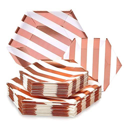 Einweg-Beilagenteller aus schwerem Papiermaterial, 24 Stück 18 Servings rose gold