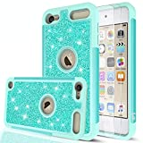 iPod Touch 7 Case, iPod Touch 6 Case, iPod Touch 5 Case with Tempered Glass Screen Protector [2 Pack] for Girls Women,LeYi Glitter Heavy Duty Phone Case for iPod Touch 7th/ 6th/ 5th Generation TP Mint