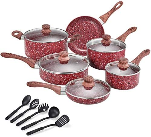 CSK Nonstick Cookware Set Pots and Pans Set w Red Granite Derived Coating Induction Compatible product image