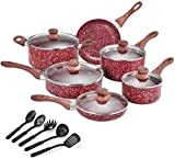 CSK Nonstick Cookware Set  Pots and Pans Set w/ Red Granite Derived Coating, Induction Compatible, w/ Bakelite Handle and Multi-Ply Body, PFOS PFOA Free, Lovely Housewarming Gift,16 Piece