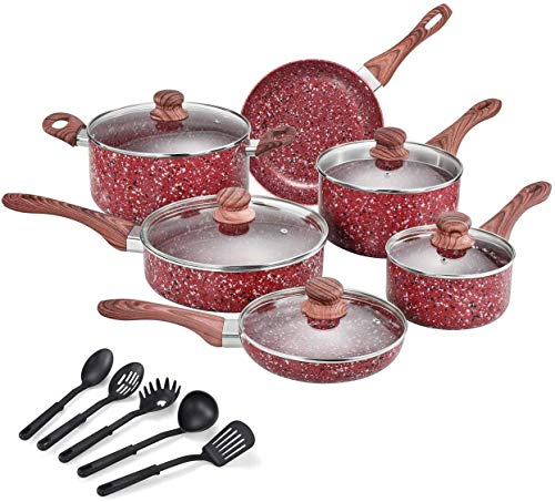 CSK Nonstick Cookware Set – Pots and Pans Set w/ Red Granite Derived Coating, Induction Compatible, w/ Bakelite Handle and Multi-Ply Body, PFOS PFOA Free, Lovely Housewarming Gift,16 Piece