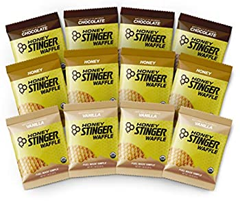 Honey Stinger Organic Waffles - Variety Pack – 12 Count – 4 of Each Flavor – Energy Source for Any Activity – Honey Vanilla & Chocolate – Plus Sticker