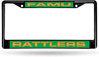 FLORIDA A&M BLACK LASER CHROME FRAME Black Laser chrome license plate frame Acrylic team inserts at top and bottom of frame Decorated in team colors Officially licensed