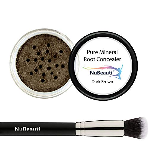Root Concealer Touch Up Powder   All-Natural Crushed Minerals With Brush   Fast and Easy Total Gray Hair Cover up For Black   Brown   Auburn and Blonde Hair .30 ounce (Dark Brown)