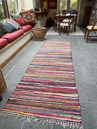 recycelte Baumwolle indischen Chindi Flickenteppich Läufer Multi Farbe 60cm x 245cm (Second Nature)