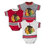 OuterStuff Chicago Blackhawks Baby/Infant Hockey Jersey Style 3 Piece Creeper Set 12 Months