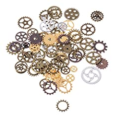 BESTIM INCUK 120 Gram Antique Bronze Vintage Skeleton Keys Steampunk Gears Cogs Charms Pendant Clock Watch Wheel for Jewelry Making Supplies, Steampunk Accessories, Craft Projects (Approx 80pcs) #5
