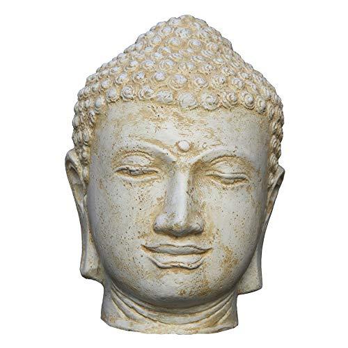 STONE art & more Buddha-Kopf, weiß antik, 30 cm, Steinfigur, Steinguss, frostfest