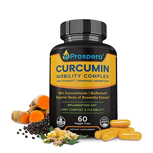 Prospera Curcumin Workout Mobility Formula, Turmeric Curcumin, Boswellia, Black Pepper, Made for Plantar Fasciitis, Knee, Back Pain, Top Exercise, Running, Crossfit Aid, Vegan, Gluten Free, 60 Count