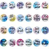 24 Pieces Motivational Fridge Magnets Watercolor Round Inspirational Quote Refrigerator Magnets Inspirational Encouragement for Classroom Whiteboard Locker Fridge Supplies