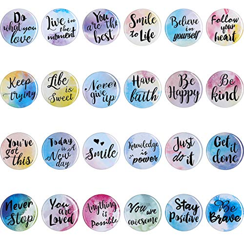 24 Pieces Motivational Fridge Magnets Watercolor Round Inspirational Quote Refrigerator