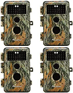 BlazeVideo 4-Pack No Glow Infrared Trail Hunting Game Cameras 16MP 1920x1080P Video Tracking & Monitoring 65Ft Night Vision Wildlife Deer Cameras Motion Activated Password & IP66 Waterproof Protection