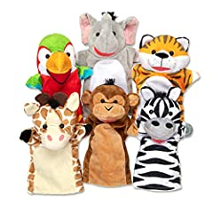ENTERTAINING HAND PUPPETS FOR KIDS: The Melissa & Doug Safari Buddies Hand Puppets set includes 6 soft and cuddly hand puppets with a safari animal theme (elephant, a tiger, a parrot, a giraffe, a monkey and a zebra). HIGH-QUALITY MATERIALS: Our pupp...