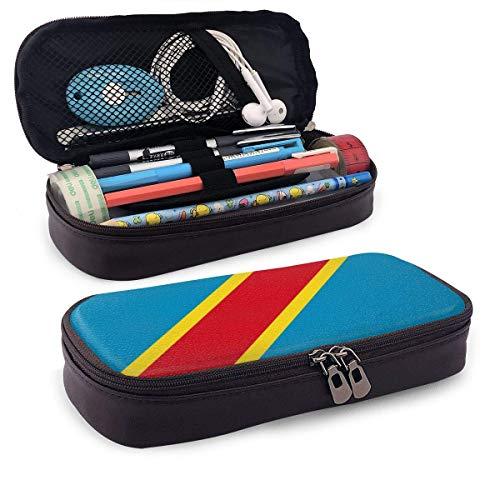 XCNGG Estuche para lápices neceser Democratic Republic of Congo Pencil Case Big Capacity Pen Case Desk Organizer with Zipper - 8x3.5x1.5 Inches