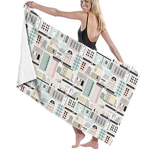 Funny Z Telo da bagno super assorbente per edifici antichi e moderni Asciugamani da spiaggia ad asciugatura rapida 130x80 cm
