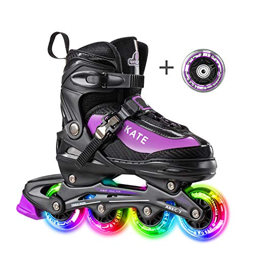 Hiboy Adjustable Inline Skates with All Light up Wheels, Outdoor & Indoor Illuminating Roller Skates for Boys, Girls, Beginners … (Purple, Large-5-8)
