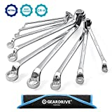 GEARDRIVE Offset Box Wrench Set, Metric, 9-Piece, 6-23mm, 75-Degree, Chrome Vanadium Steel Construction with Rolling Pouch