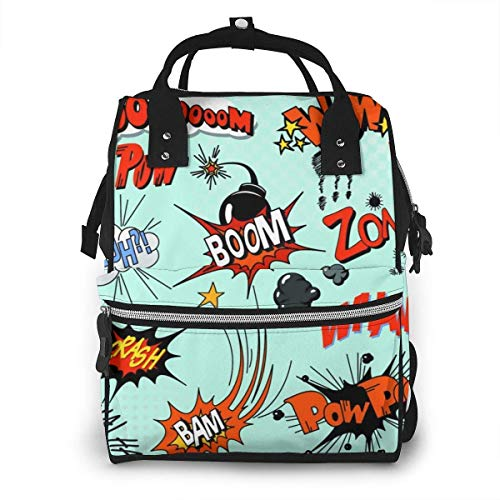 GXGZ Comic Book Style Cartoon Diaper Bags Baby Stuff Multi-Function Waterproof Travel Baby Bags for Mom Dad Large Capacity Isolation Travel Back Pack Nappy Bags Organizer