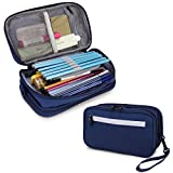 Pencil Case, VX VONXURY Large Pencil Pouch with 2 Zipper Compartments Stationery Organizer Cosmetic Makeup Bag for School,Office Blue