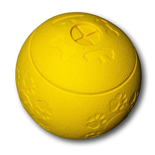 WEPO® Hundespielzeug/Hundeball - Kauspielzeug Zahnpflege-Funktion - Robuster Naturkautschuk Ball - Snackball/Futterball - Welpenspielzeug - Gelb