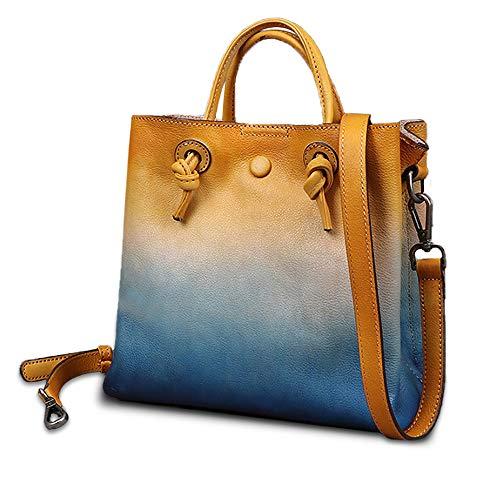 Womens Handbags Leather,Gradient Style Hobo Bag Bags for Women,Retro Shouder Bag for Her Girls Ladies Gifts (Blue)