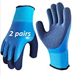 2 Pairs Thermal Waterproof Winter Work Gloves Polar Fleece Liner Superior Grip Double Latex Coating for Maintenance Garden Logistics Warehousing in Cold Weather Outdoor Activities (Large-2Pack)