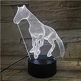 3D-Nachtlicht,3D LED Nachtlicht Lampe Freund, Baby Geschenk USB Nachtlicht oder dekorative Lampe, Büro mit 7 Farben Pferd