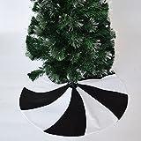 Gireshome 36' Patchwork Black and White Polar Fleece Lollipop Design Christmas Tree Skirt Xmas Tree Decoration Merry Christmas Supplies Christmas Decoration