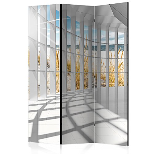 murando Raumteiler 3D Optik Korridor Meer Strand Foto Paravent 135x172 cm beidseitig auf Vlies-Leinwand Bedruckt Trennwand Spanische Wand Sichtschutz Raumtrenner grau beige c-C-0020-z-b