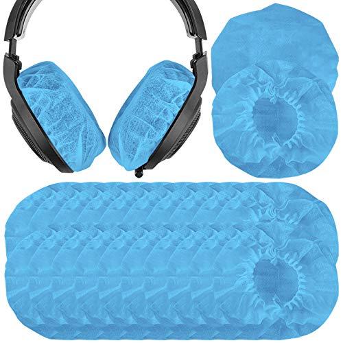 Geekria 100 pares de fundas desechables de tela no tejida grande para auriculares / fundas para auriculares / auriculares sanitarios elásticos, se adapta a auriculares de 4.33 '-6.29' (azul)