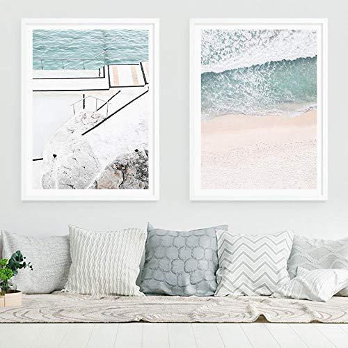 Moderno aéreo de la playa de las olas costeras paisaje lienzo impresión pinturas arte de la pared póster para la sala de estar decoración del hogar oficina 40x60cmx2 sin marco