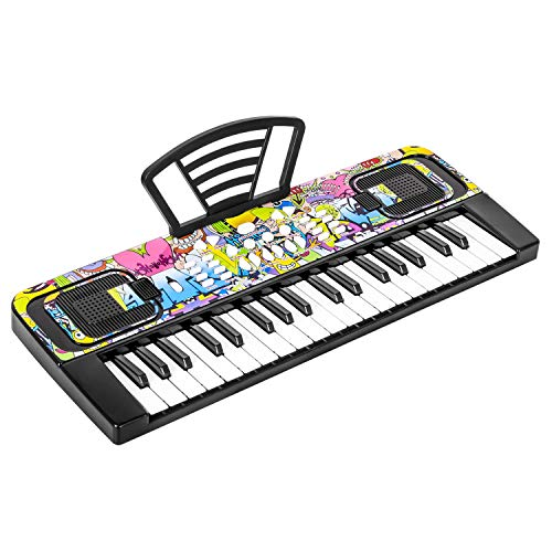 M SANMERSEN Piano Keyboard for Kids, Piano for Kids Music Keyboards 37 Keys Electronic Pianos with Music Book Bracket Musical Toys for Beginners 3-8 Years Old Girls Boys