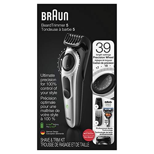 Braun Beard Trimmer BT5265, Hair Clippers for Men, Cordless & Rechargeable, Mini Foil Shaver with Gillette ProGlide Razor