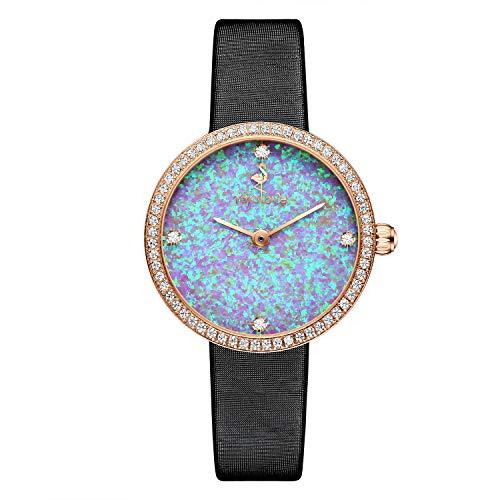 rorolove Reloj analógico de cuarzo para mujer con correa de piel, con incrustaciones de 4 diamantes naturales y esfera de ópalo, Rain Clouds Purple, Correa