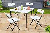 Mainstays 5 Piece Resin Plastic Card Table and Four Chairs Set - White