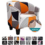 SearchI Tub Chair Slipcover, Stretch Spandex Removable PatternAccent Chair Covers, Sofa Cover Furniture Protector for Living Room Arm Chair Cover Geometric Couch Covers
