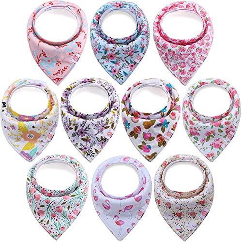 Minizone Baby Mädchen Dreieckstuch Bandana 10er Pack Super Saugfähig Baumwolle Lätzchen Halstücher mit Druckknöpfen, Waschbar Spucktuch