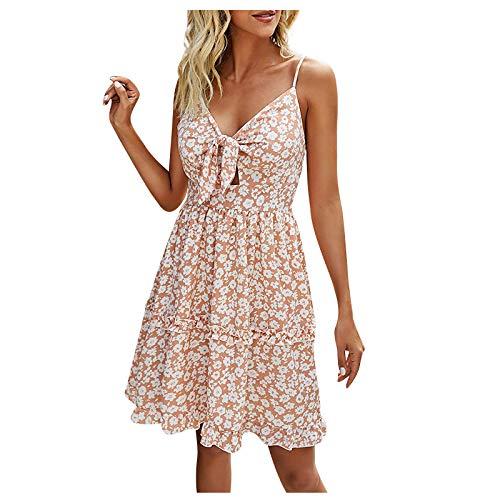 JUNLIN Bohemian Suspender Dress Lace-Up Front V-Neck A-Line Swing Midi Skirt (Pink, L)