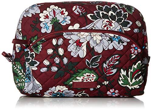 Vera Bradley Women's Signature Cotton Large Cosmetic Makeup Bag, Bordeaux Blooms, One Size