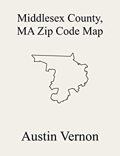 Middlesex County, Massachusetts Zip Code Map: Includes Belmont, Cambridge, Chelmsford, Everett, Holliston, Natick, North Reading, Pepperell, Sudbury, Tewksbury, Tyngsborough, Watertown Town, Wayland,